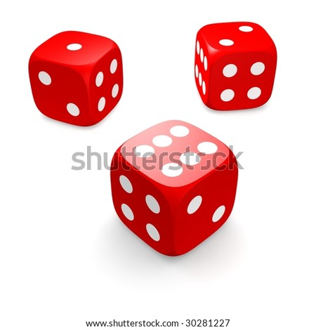 Three red dices isolated on white. 3d rendered illustration.