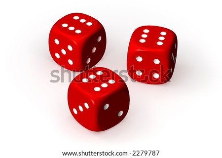Three red dices isolated over a white background. This is a 3D rendered picture.