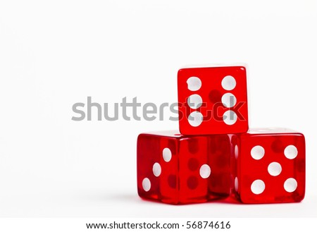 three red dices on white background - stock photo