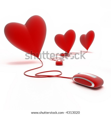 Three red hearts connected to red mouses - stock photo