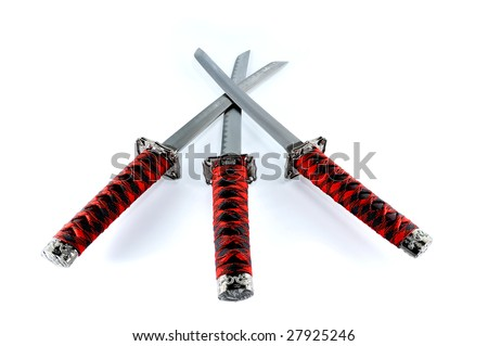 Three red japanese Katana - stock photo