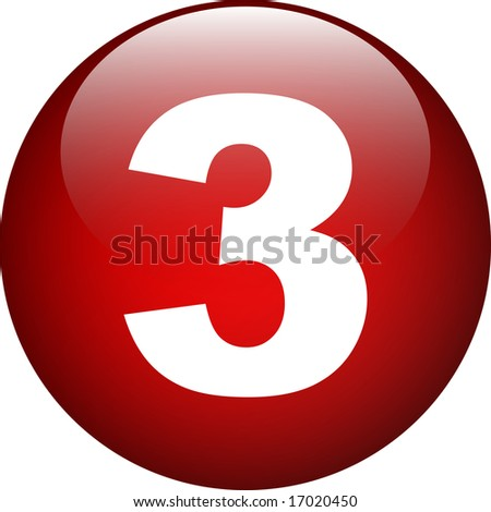 three (3) red number button - stock photo