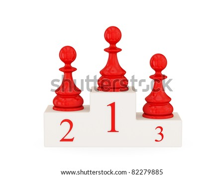Three red pawns. 3d rendered. Isolated on white background. - stock photo