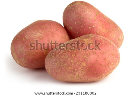 three red potatoes isolated on white background - stock photo