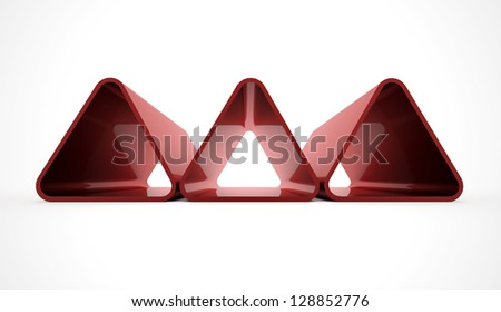 Three red triangle elements isolated on white background - stock photo