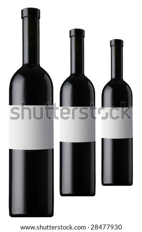 three red vine bottles - stock photo