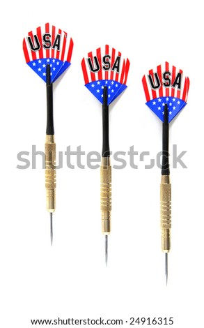 Three Red, White, and Blue Game Darts lined up on a white background. - stock photo