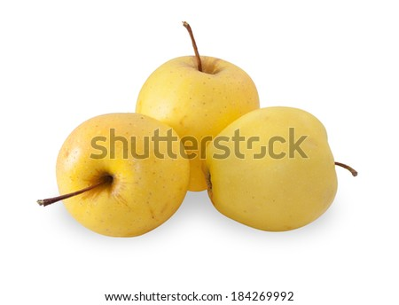 Three red-yellow apple, isolated on white background