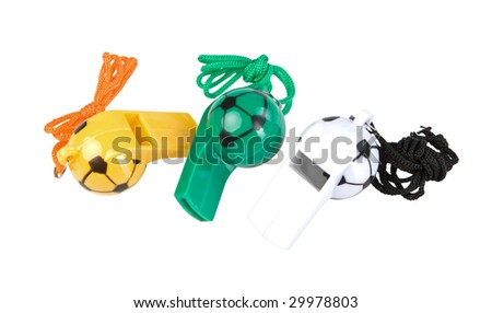 Three referee whistle isolated on white. Clipping paths - stock photo