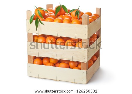 Three retail crates of ripe tangerines. Isolated on a white. - stock photo