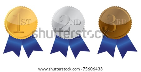 Three ribbon of Achievement, gold, silver and bronze illustration design - stock photo
