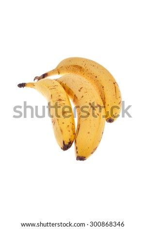 Three ripe bananas isolated on white background.  - stock photo