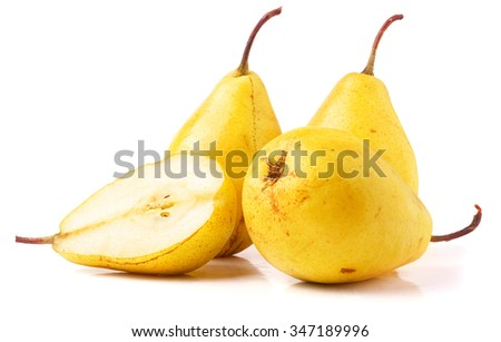 Three ripe fresh yellow pears isolated on white background. - stock photo