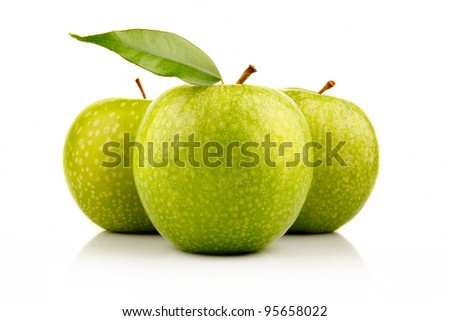 Three ripe green apples with isolated on white background - stock photo