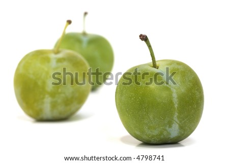 Three Ripe Greengages on a White Background