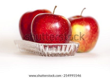Three ripe red apples - stock photo