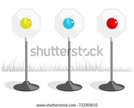 Three road signs depicting an apple