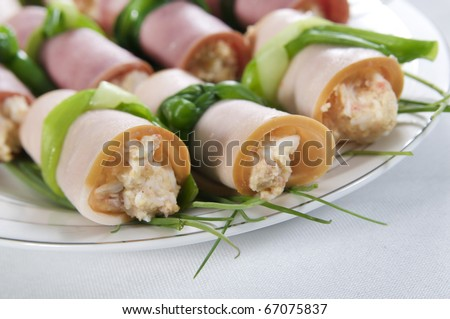 Three rolls filled with cheese - stock photo