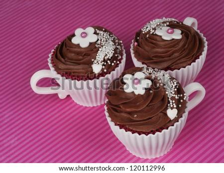 three romantic Valentine chocolate  cupcakes - stock photo
