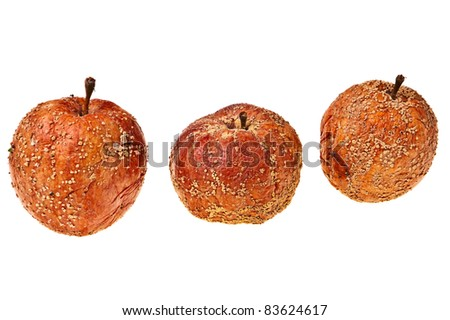Three rotten apples isolated over white background.