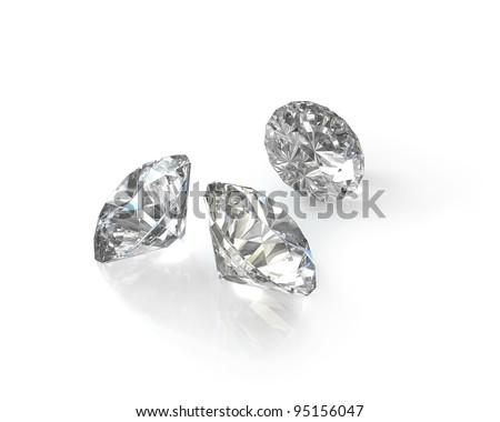 Three round, old european cut diamonds, isolated on white background - stock photo