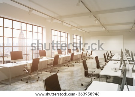 Three rows of computer tables in a light modern open space office, one of them along the window. Big blank screen on the wall. New York view, filter.  3D rendering. - stock photo