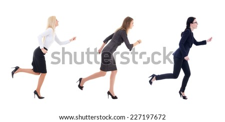 three running business women in business clothes isolated on white background - stock photo