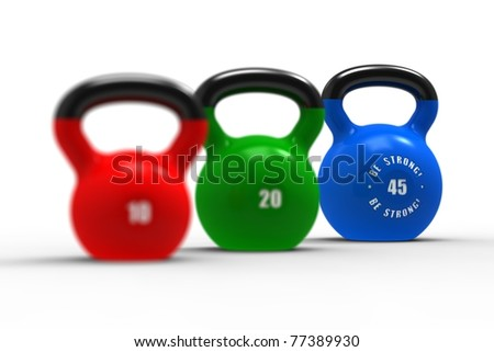Three russian kettlebells on white background. - stock photo