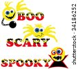 three scary halloween smileys with text boo scary spooky - stock vector