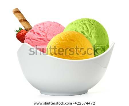 Three scoops of ice cream in bowl isolated on white background