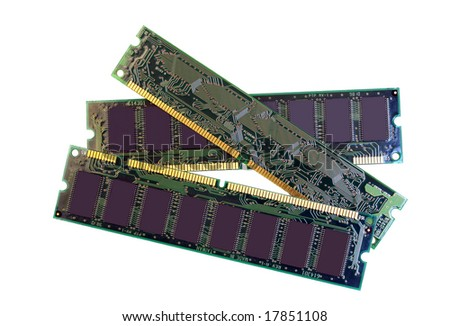 Three SDRAM memory modules, isolated on white with copy space.