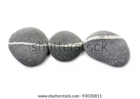 Three sea striped stone isolated - stock photo