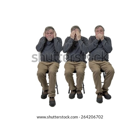 Three senior gentlemen hear no evil see no evil speak no evil - stock photo