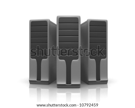 three servers - stock photo