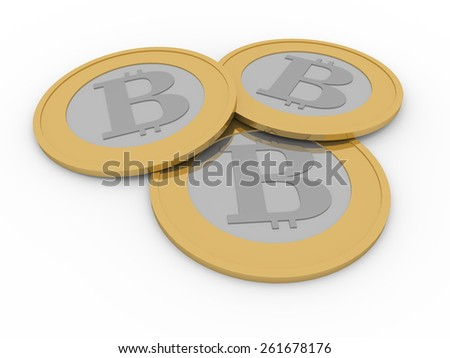 three shiny bitcoins. Internet business and trade concept - stock photo