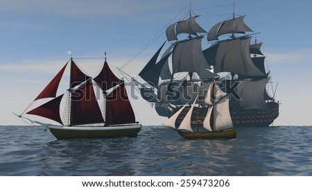 three ships in the ocean - stock photo