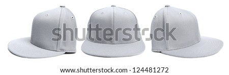 Three shots of a fitted grey hat from different angles isolated on a white background. - stock photo