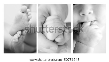 Three shots of cute details of a baby - stock photo