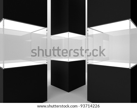Three showcase in black column - stock photo