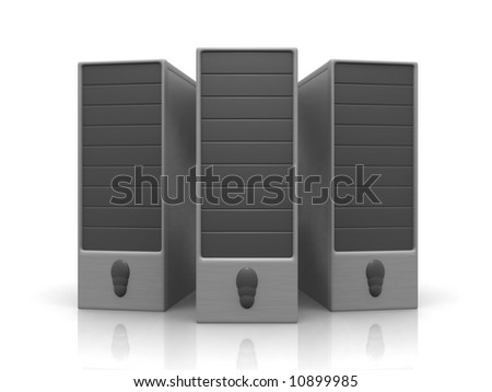 three silver servers - stock photo