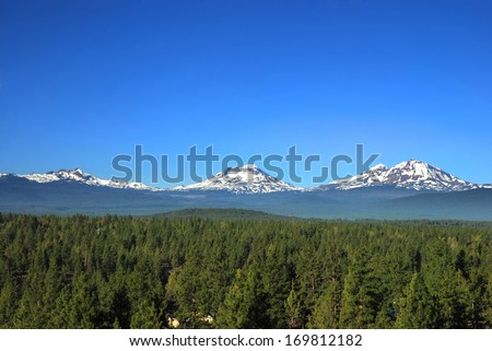 Three Sisters Mountains in Oregon, United States - stock photo