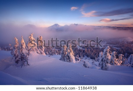 Three Sisters Winter - stock photo
