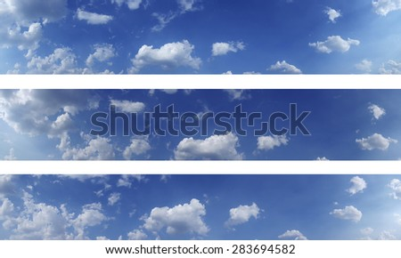 Three sky panoramas for yours sites and other projects, high res. Blue sky and white clouds over horizon. - stock photo