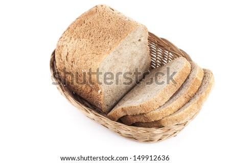 three slices of bread in basket on white background