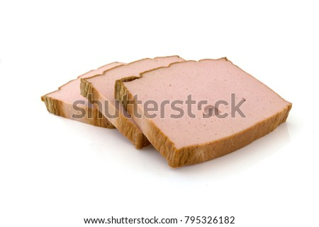 three slices of liver cheese on a white background