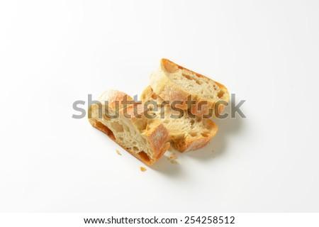 three slices of white bread on white background - stock photo