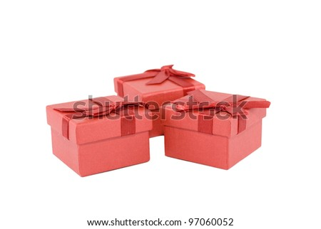 three small red boxes for gift - stock photo