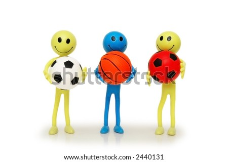 Three smilies with footballs and basketballs isolated on white - stock photo
