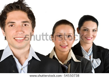 Three  smiling business people in a line,focus on man isolated on white background - stock photo