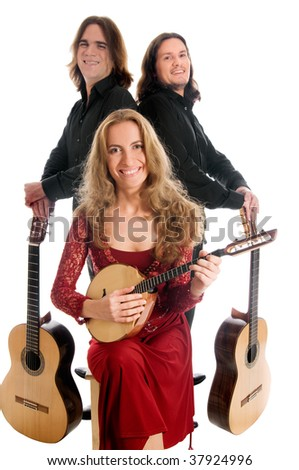 three smiling musicians isolated on white background